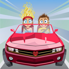 Cadres-photo bureau Voitures enfants Cartoon crazy boy and girl riding in a car at high speed