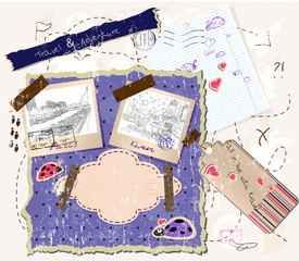 scrapbooking set with stamps and photo frames.
