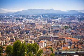 areal view on Marseille from mountian, France
