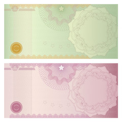 Voucher (coupon,certificate) template with Guilloche pattern