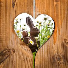 Lapin de Pâques, coeur en bois