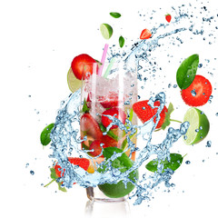 Printed kitchen splashbacks Splashing water Fruit Cocktail with splashing liquid isolated on white