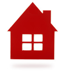 red plastic house shaped object