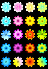 Set of vector banners with neon flowers.