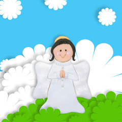 first communion card angel
