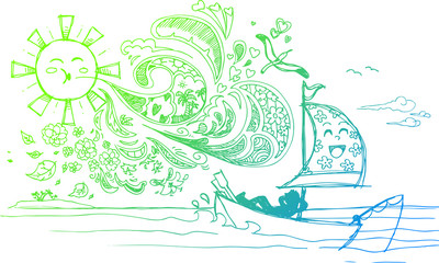 Sketched doodles of relaxing holidays at the seaside
