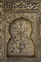Wall Mural - floreal decorations in Jaipur palace, India
