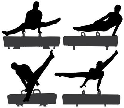 Gymnast on Pommel Horse Silhouette
