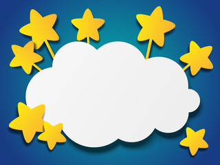 Paper stars with cloud