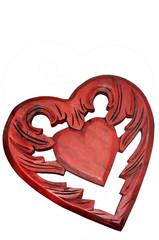 Ein rotes Herz aus Holz