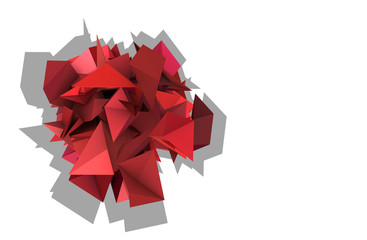 Fototapeta 3d abstract red pink spiked electric shape