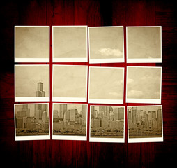 Vintage Chicago Pictures on Wooden Table