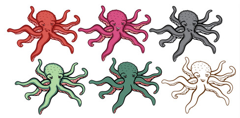 Octopus Illustration Set