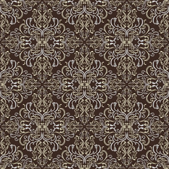 Damask seamless pattern against a dark background.