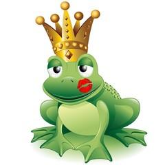 Prince Frog Cartoon Clip Art with Kiss-Principe Ranocchio Bacio