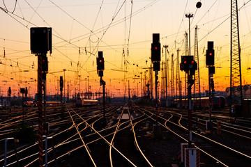 Railway Tracks at Sunset Wall mural