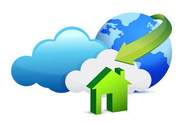 Cloud computing home arrival illustration design