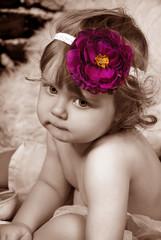 vintage portrait of adorable baby girl