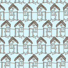 Seamless pattern with funny doodle houses