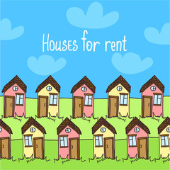 Illustration with funny doodle houses