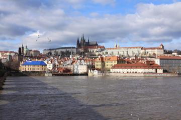 Winter Prague gothic Castle above River Vltava, Czech Republic