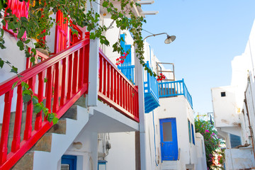 Greece, Tradit Balcony view in Mykonos Cyclades