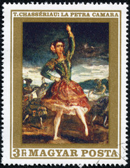 stamp shows La Petra Camara, Dancer, by Theodore Chaseriau