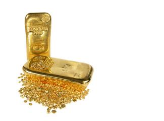 Goldbarren Goldnuggets