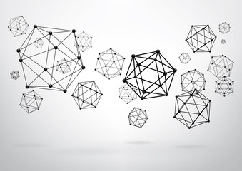 Composition of wireframe elements in the form of icosahedron