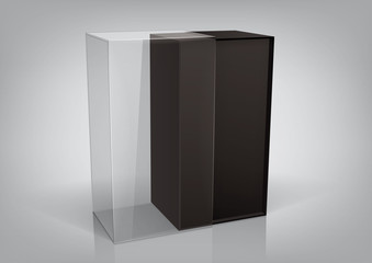 Black packaging box with a transparent plastic window