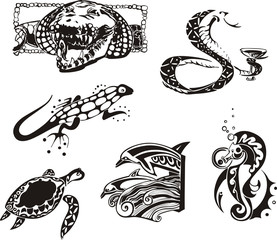 Sketches of reptiles and sea animals