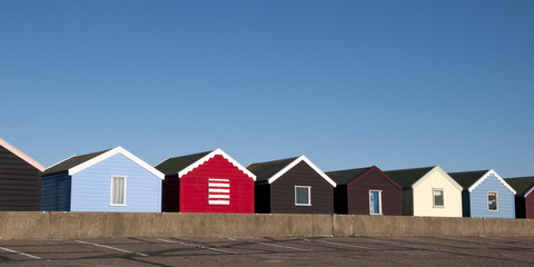 Colorful Beach Huts at Southwold, Suffolk, UK.