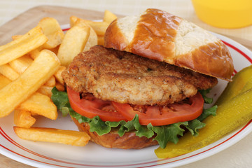 Pork Tenderloin Sandwich and Fries