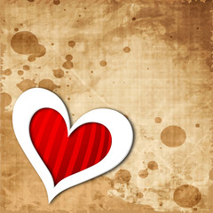 Heart shape on grungy brown background