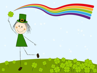 Leprechaun girl with rainbow