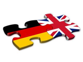 German & UK Flags (German English languages translation jigsaw)