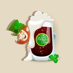 Saint Patrick's Day design with dark beer