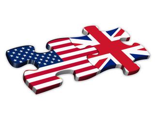US & UK Flags (American English languages translation jigsaw)