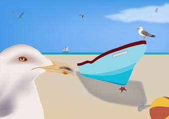 Poster de jardin Oiseaux, Abeilles spiaggia libera