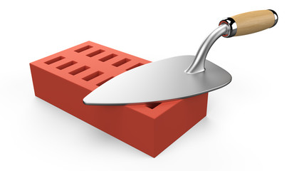 3D trowel and bricks. Work tool. 3D icon isolated on white backg