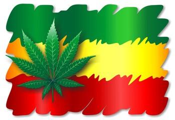 Rasta Flag and Cannabis Leaf- Foglia Marijuana Bandiera Rasta