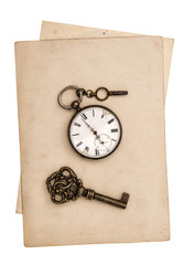 antique grungy paper sheets with clock and key