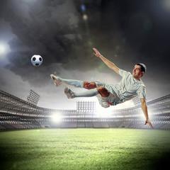 Door stickers Football football player striking the ball