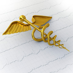 Golden Caduceus on Ecg - Ekg Paper - Medical Concept Illustratio