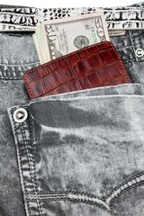 Gray jeans pocket with purse and money