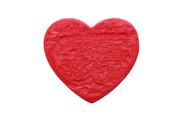 red heart shape cookie in white background