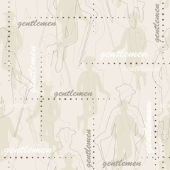Retro seamless pattern of  silhouette man with stick
