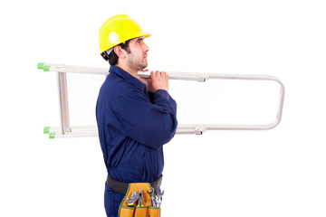 Young worker holding a ladder, isolated on white