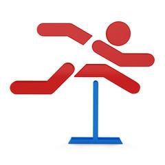 3D sport icon set... 3D hurdle race symbol
