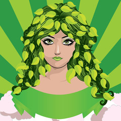 Spring girl with green leaves